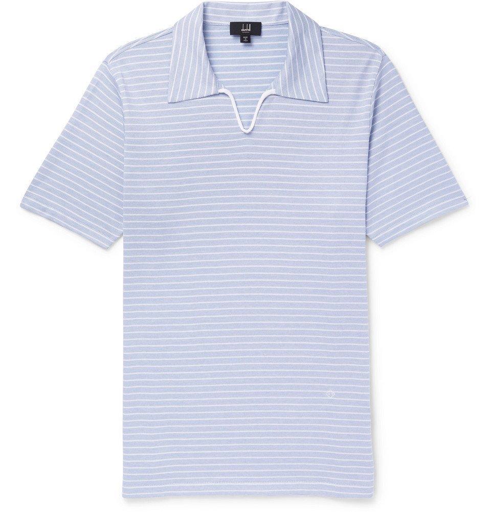 Dunhill - Striped Cotton Polo Shirt - Men - Light blue