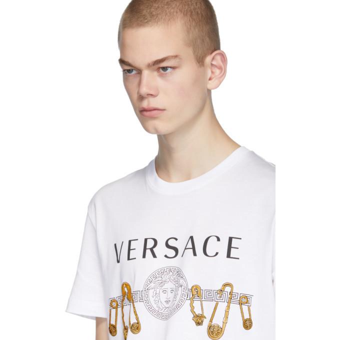 Versace White Safety Pin T-Shirt