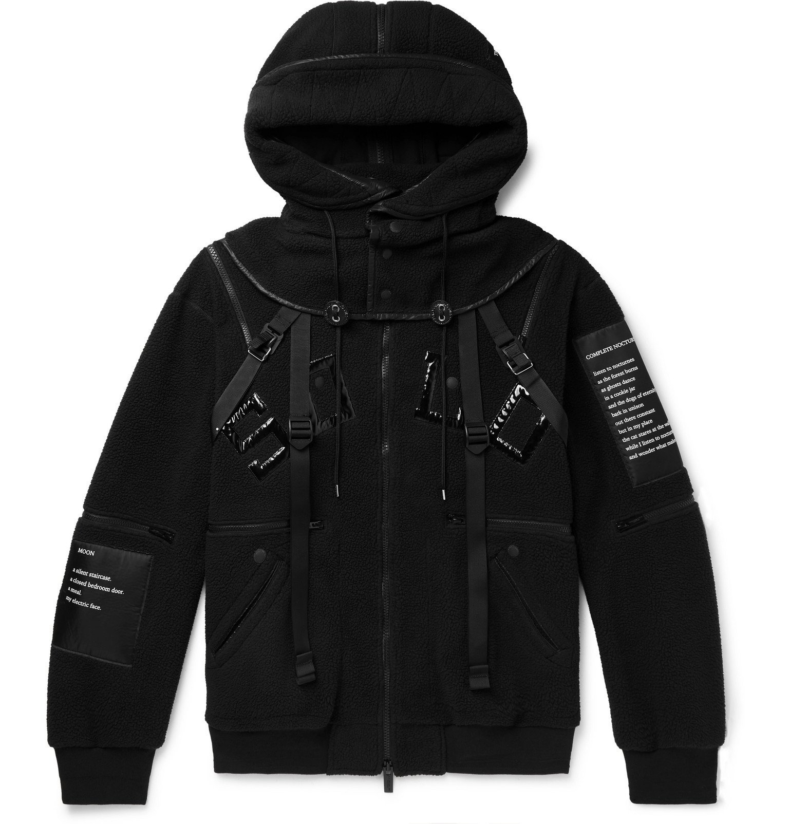Photo: TAKAHIROMIYASHITA TheSoloist. - Appliquéd Fleece Hooded Bomber Jacket - Black