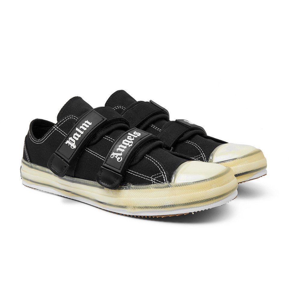 Photo: Palm Angels - Logo-Print Cotton-Canvas Sneakers - Black