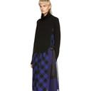 Sacai Black and Blue Buffalo Check Turtleneck Dress