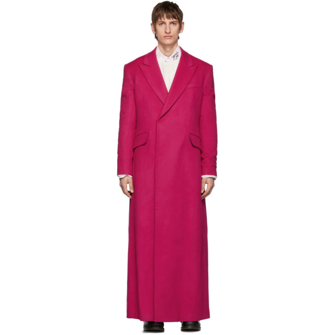 Photo: Raf Simons Pink Wool Double-Breasted Long Coat