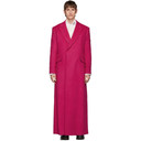 Raf Simons Pink Wool Double-Breasted Long Coat