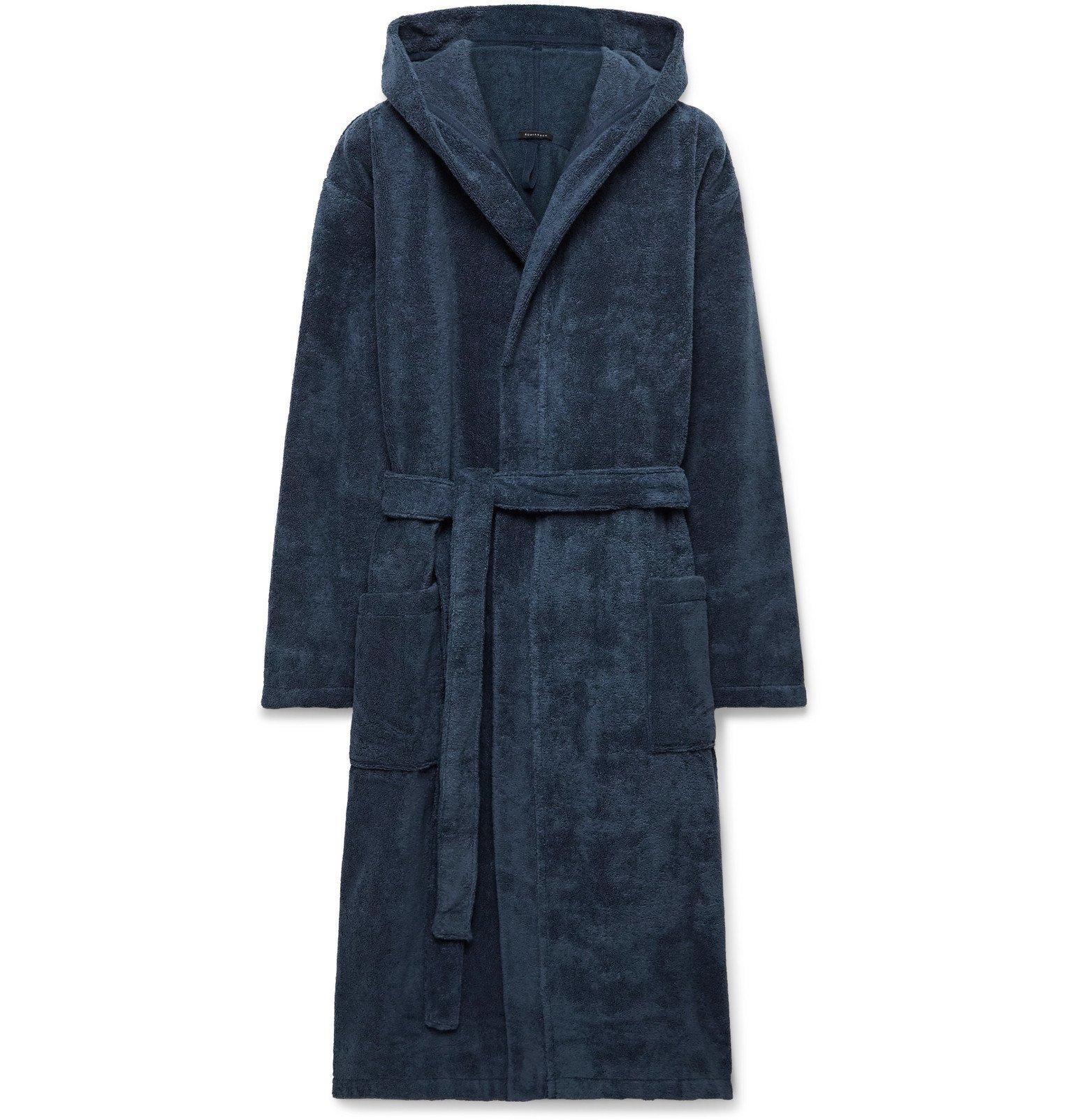 Schiesser - Cotton-Terry Hooded Robe - Blue