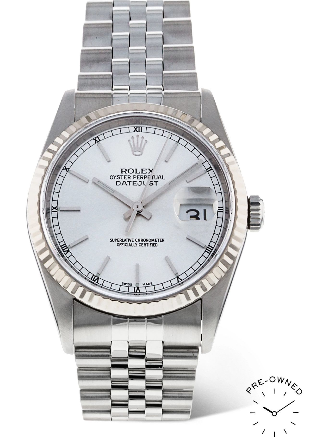 ROLEX - Pre-Owned 2001 Datejust Automatic 36mm Oystersteel and 18-Karat White Gold Watch, Ref. No. 189331