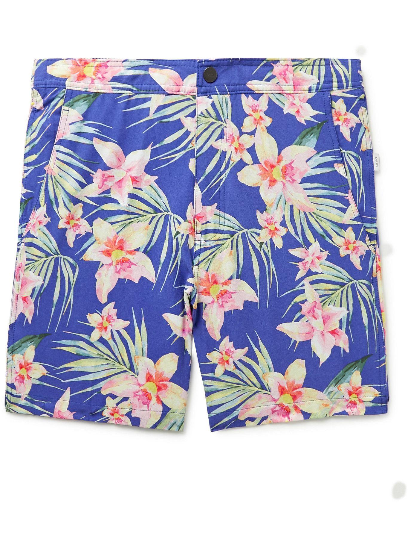 Photo: ONIA - Calder Mid-Length Floral-Print Swim Shorts - Blue