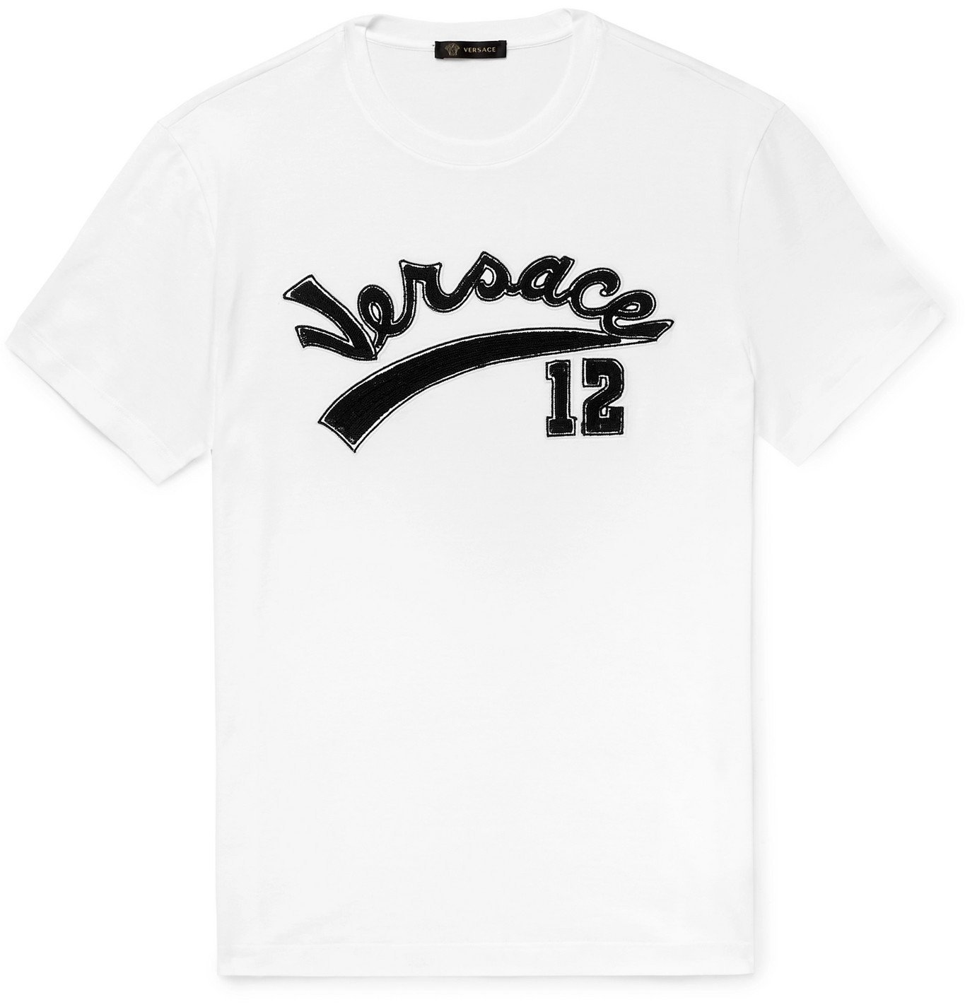 Photo: Versace - Logo-Embroidered Cotton-Jersey T-Shirt - White