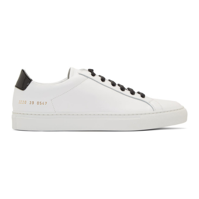 Common Projects White and Black Retro Low Glossy Sneakers