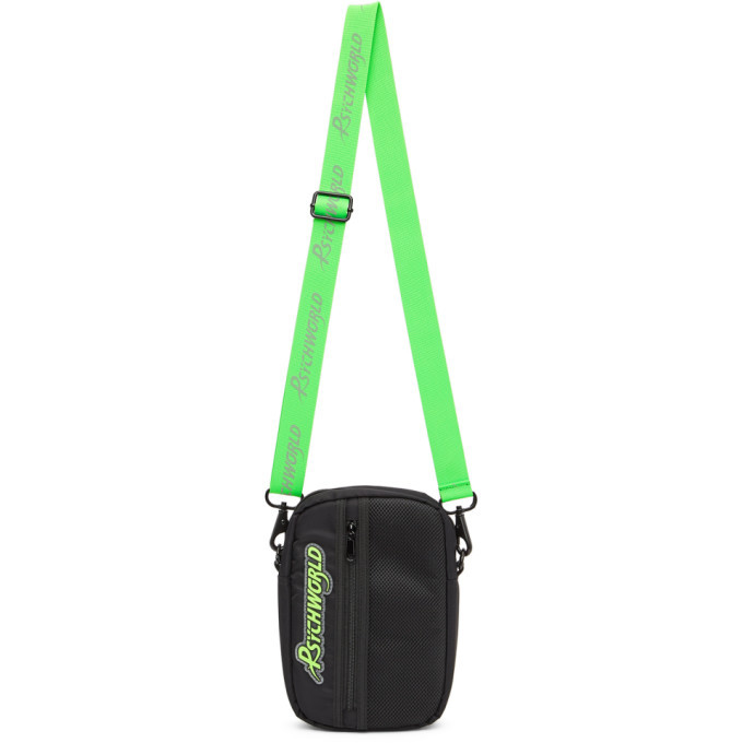Photo: Psychworld Black and Green Logo Crossbody Bag