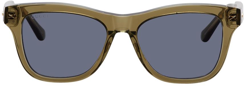 Photo: Gucci Green Acetate Square Sunglasses