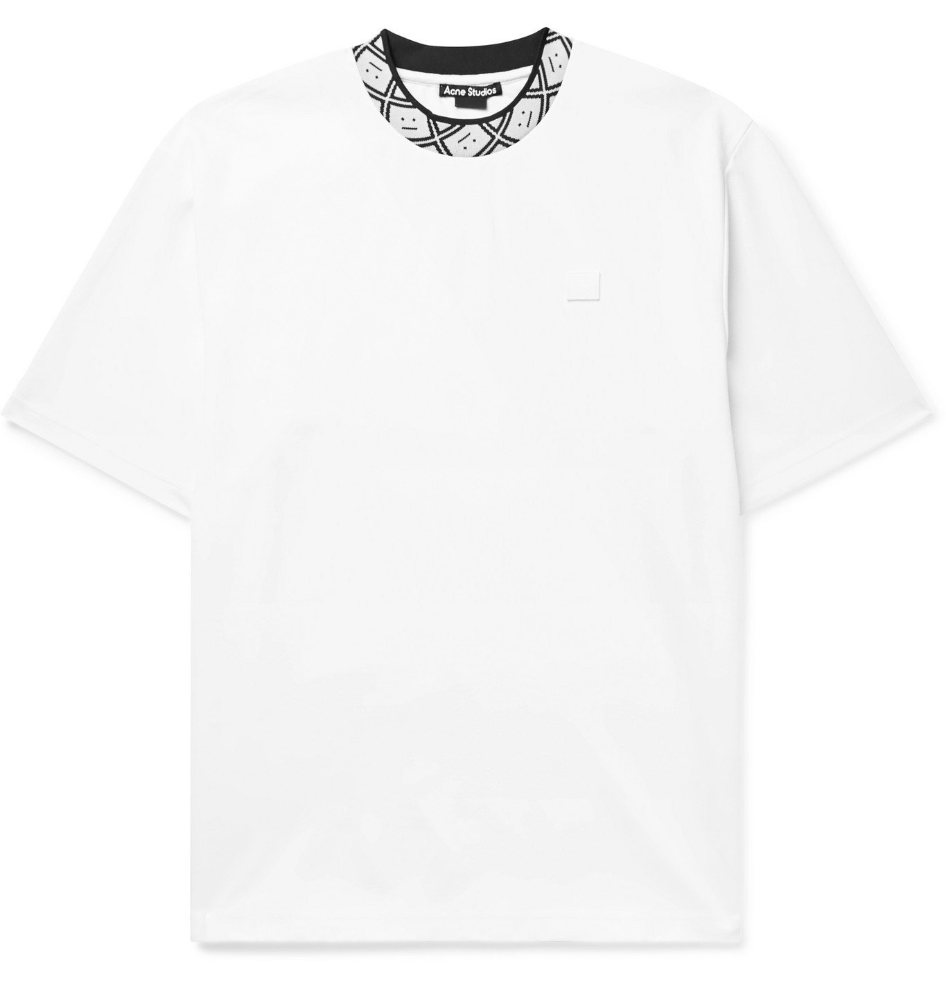 Photo: ACNE STUDIOS - Logo Jacquard-Trimmed Stretch-Jersey T-Shirt - White