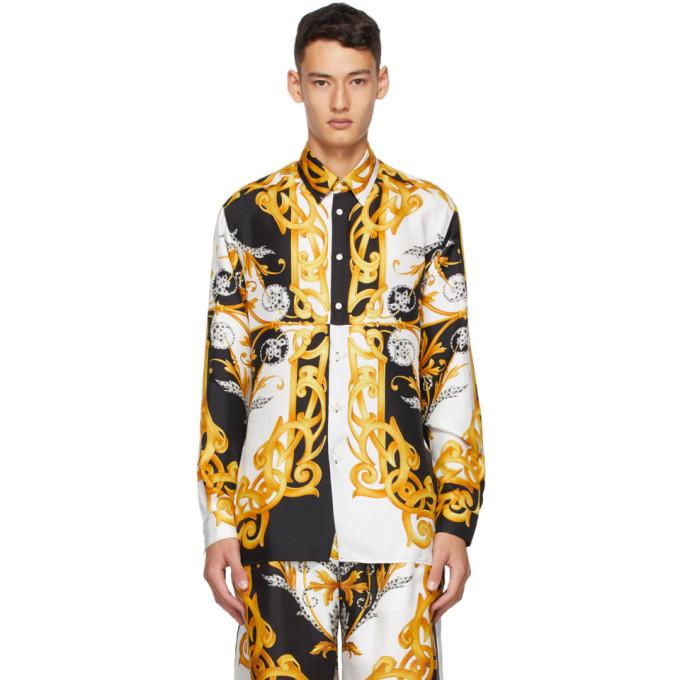 Photo: Versace White and Gold Silk Barocco Shirt