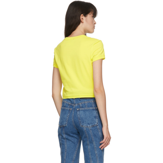 Versace Jeans Couture Yellow Cropped Logo T-Shirt