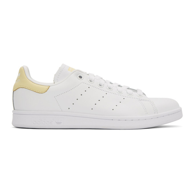 adidas Originals White and Yellow Stan Smith Sneakers