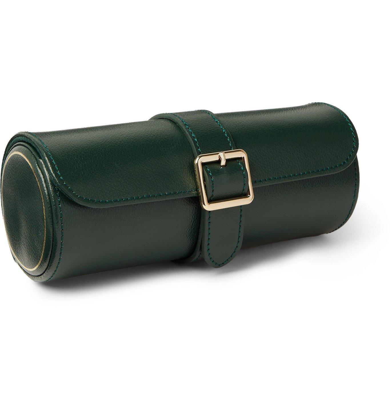 Photo: WOLF - British Racing Pebble-Grain Leather Watch Roll - Green