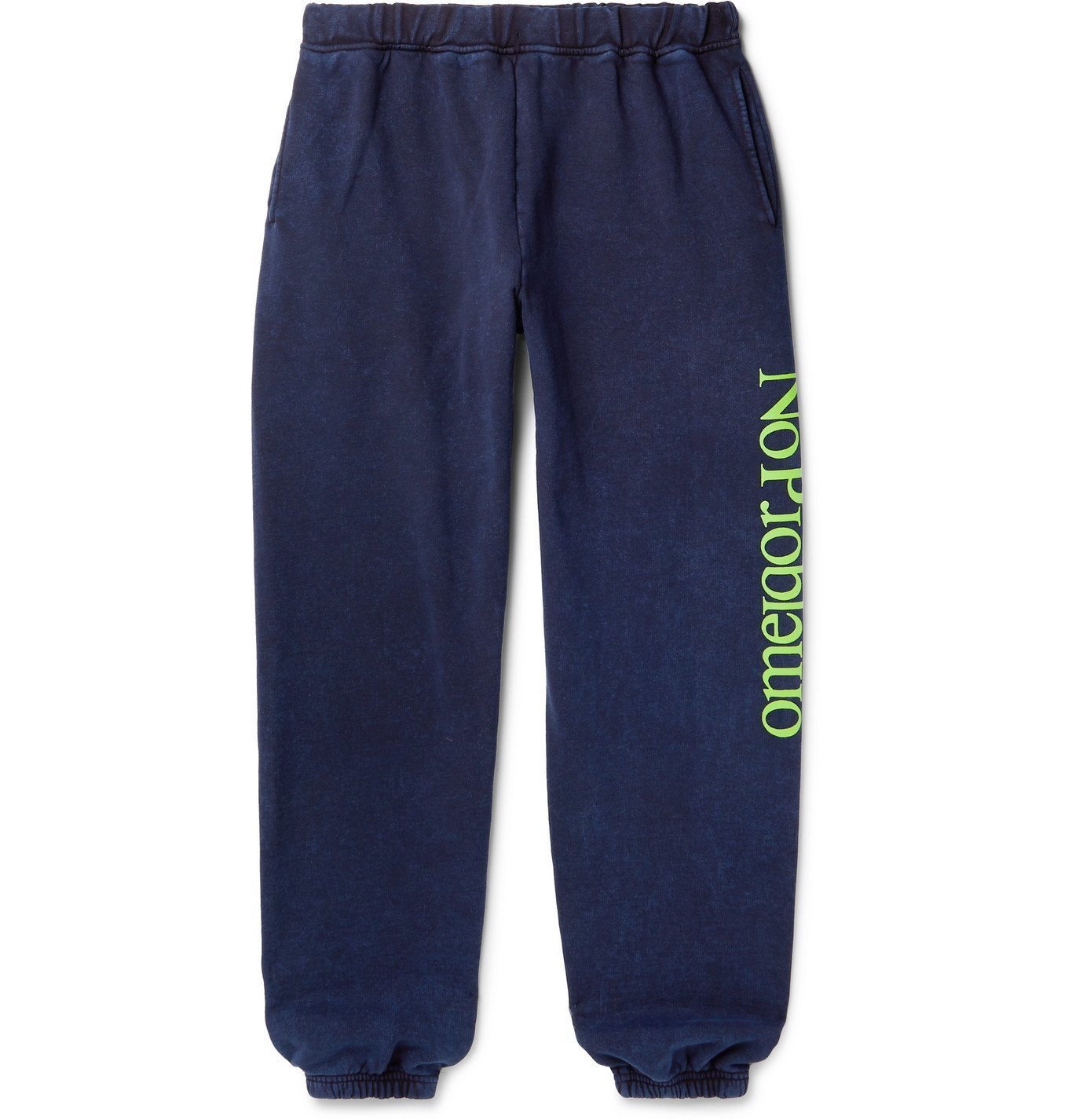 Photo: Aries - No Problemo Tapered Acid-Washed Fleece-Back Cotton-Jersey Sweatpants - Blue