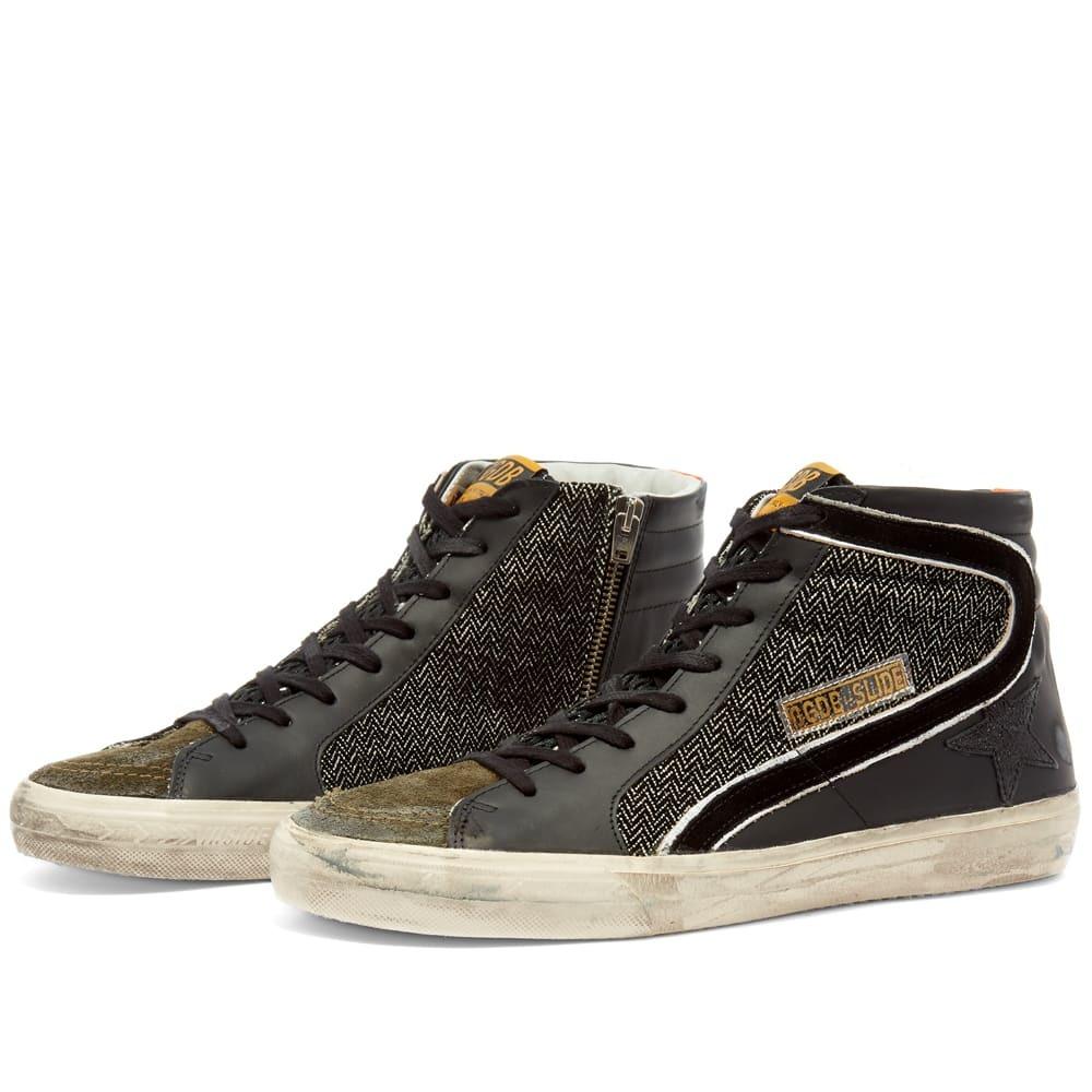 Photo: Golden Goose Slide Leather Suede Hi Top Sneaker