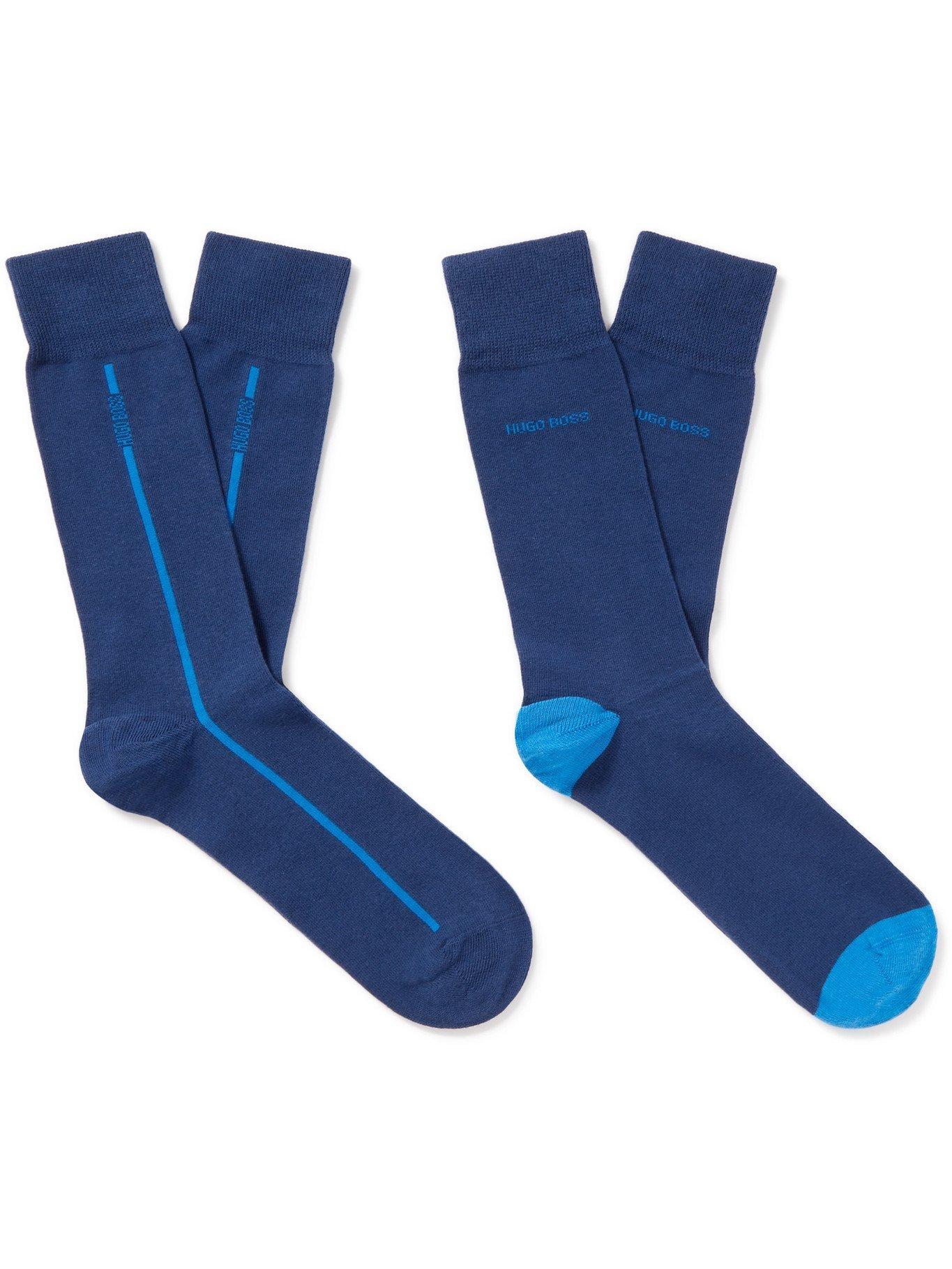 Photo: HUGO BOSS - Two-Pack Stretch Cotton-Blend Socks - Blue - EU 39/42