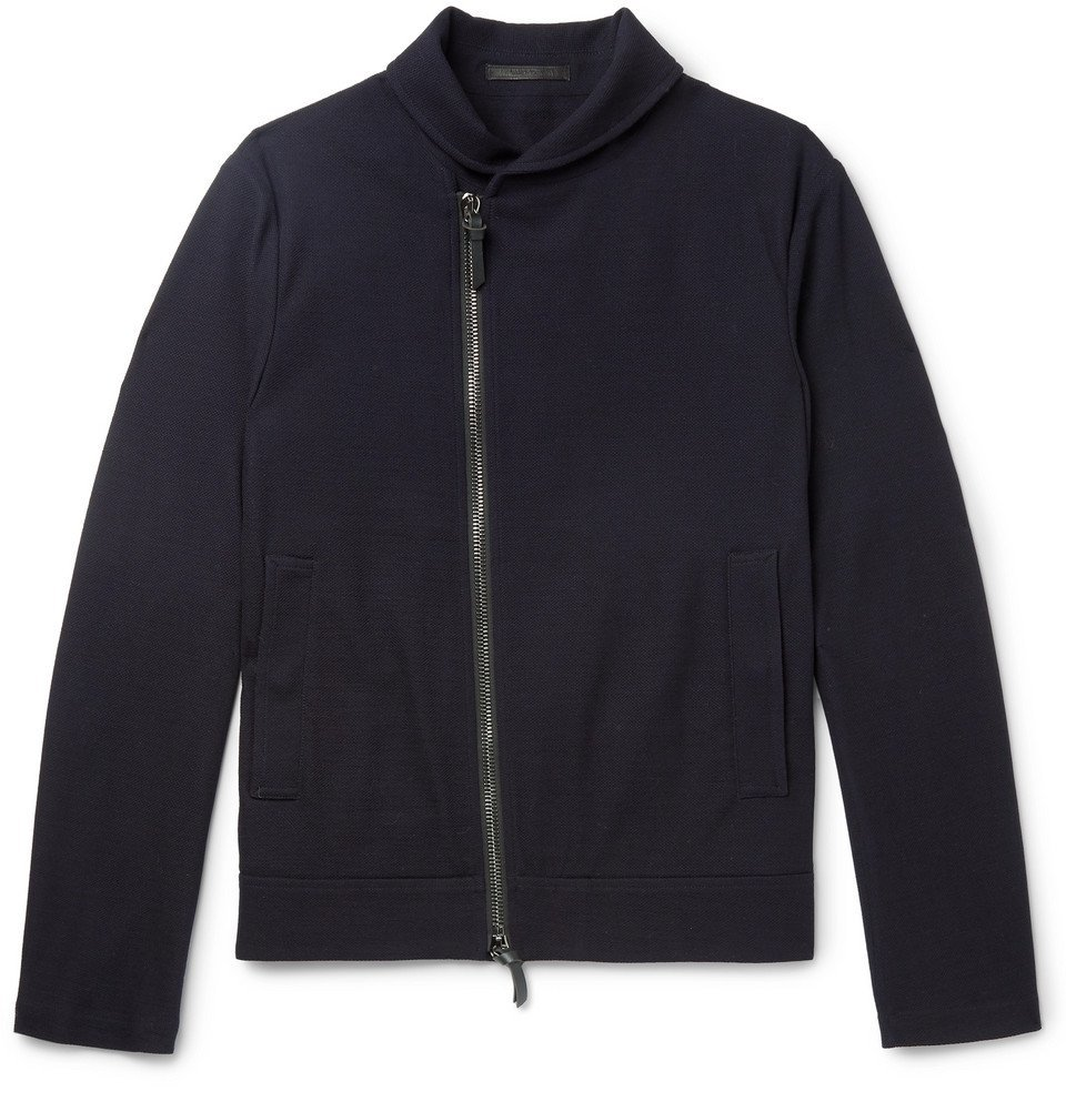 Giorgio Armani - Slim-Fit Virgin Wool-Piqué Jacket - Midnight blue