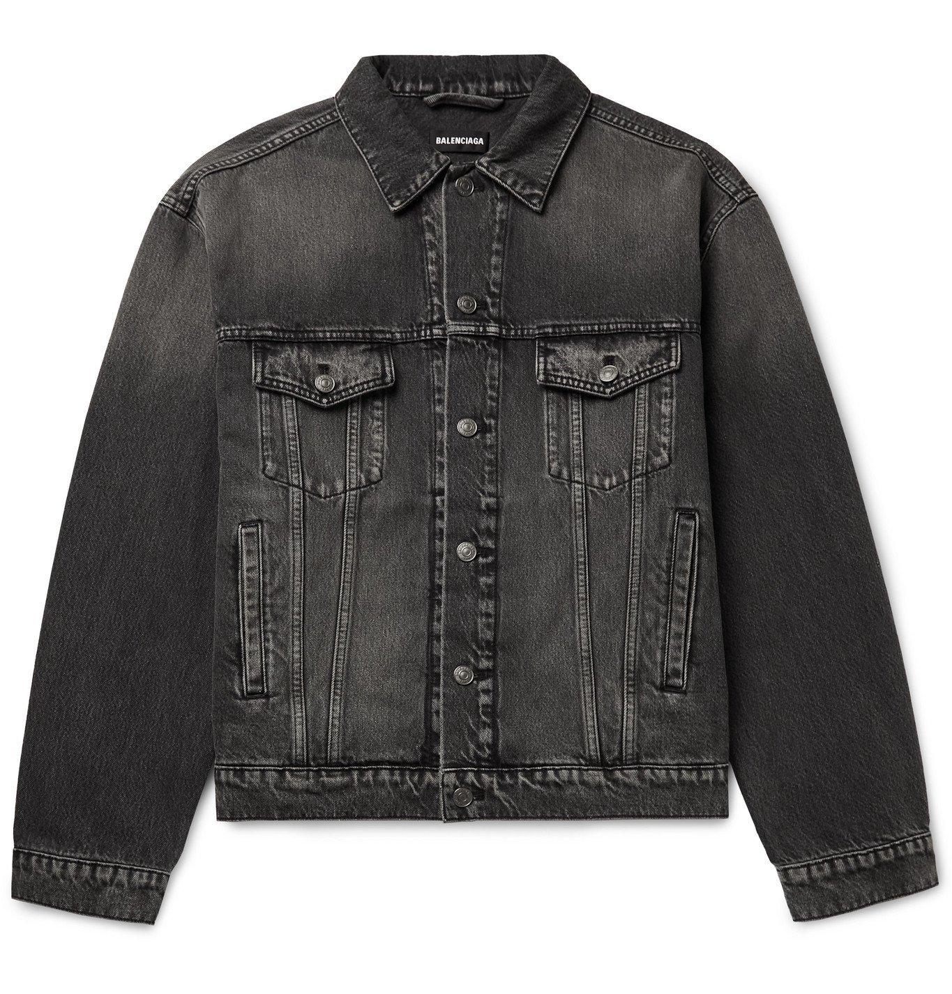 Photo: BALENCIAGA - Oversized Printed Denim Jacket - Black