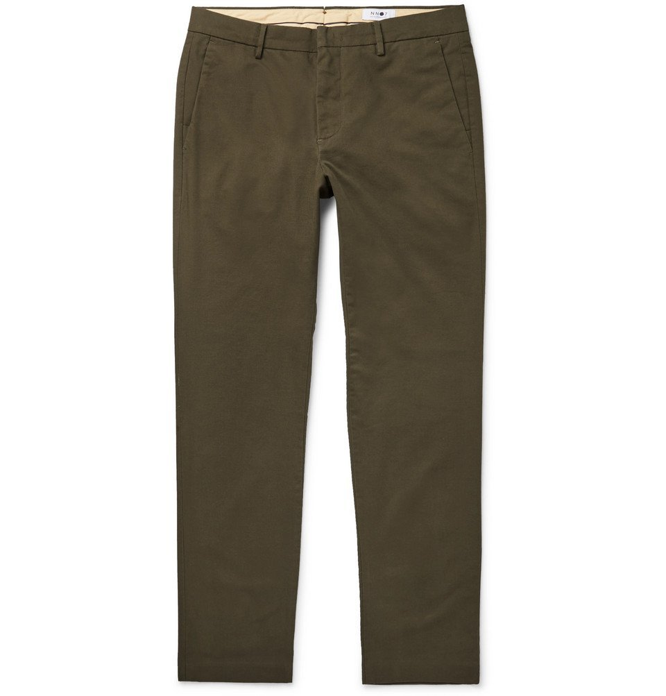 Photo: NN07 - Theo Tapered Cotton-Blend Twill Chinos - Green
