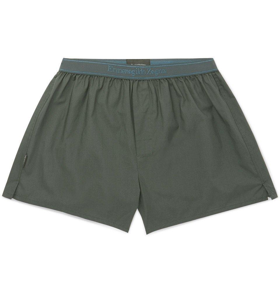 Photo: Ermenegildo Zegna - Cotton Boxer Shorts - Dark green