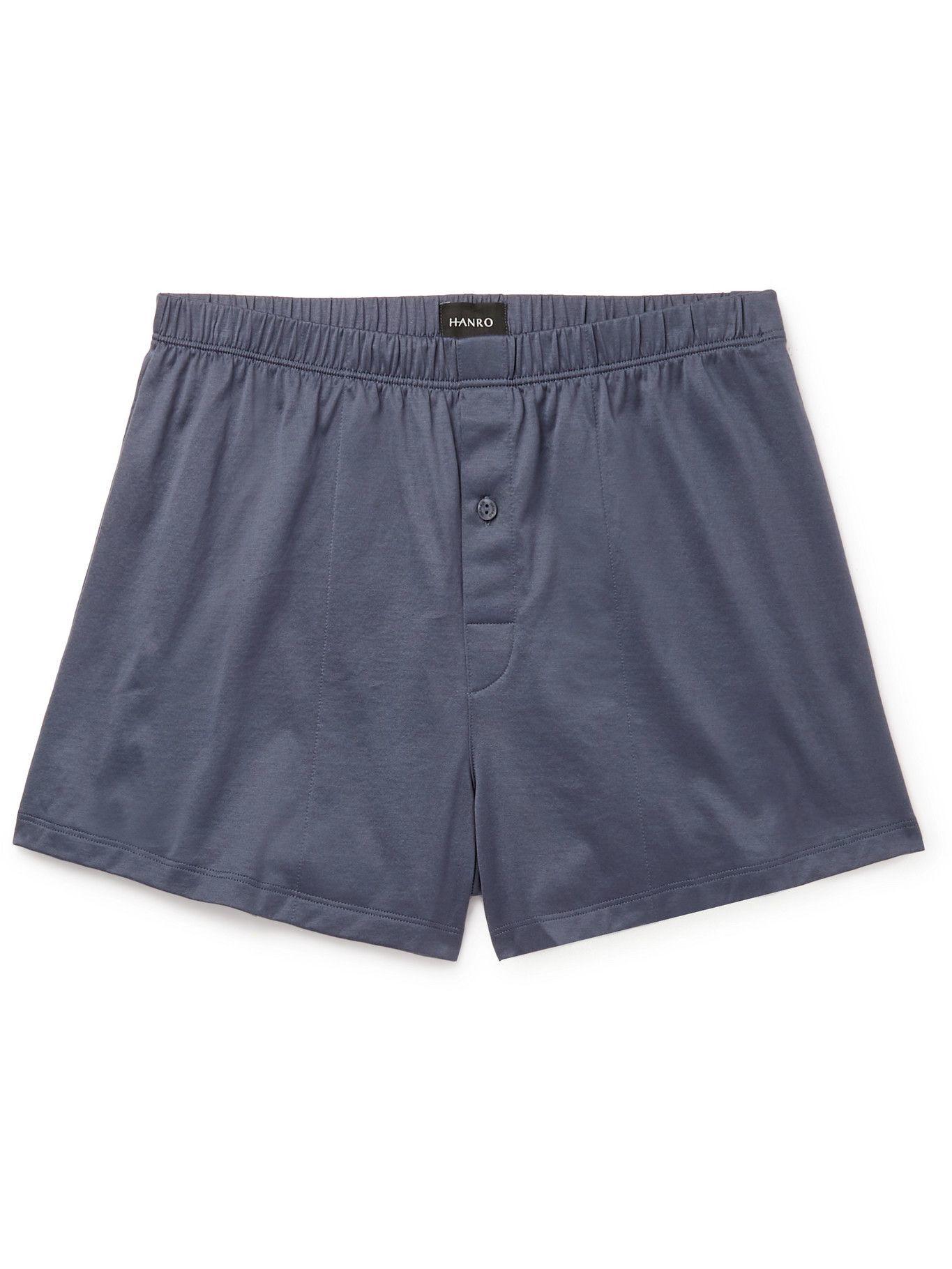 HANRO - Sporty Mercerised Cotton Boxer Shorts - Gray