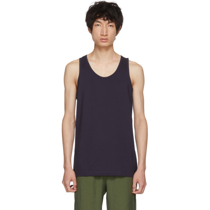 Photo: Comme des Garcons Shirt Navy Plain Fine Jersey Tank Top