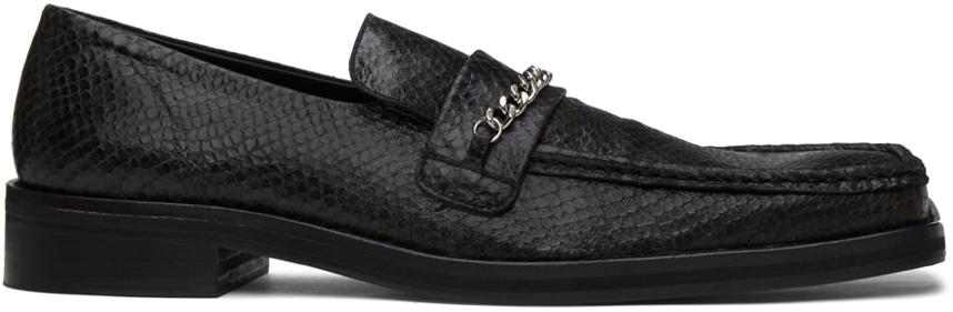 Photo: Martine Rose Black Snake Square Toe Loafers