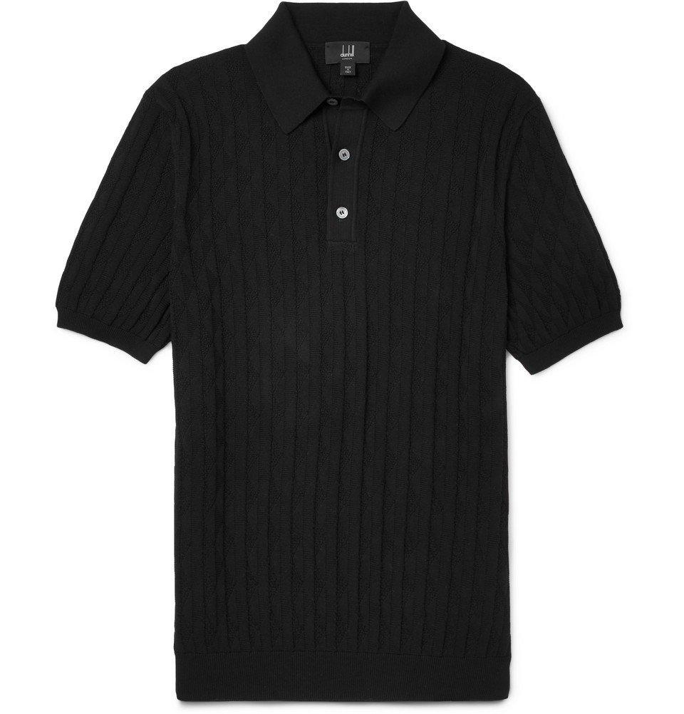 Dunhill - Slim-Fit Cotton-Jacquard Polo Shirt - Men - Black