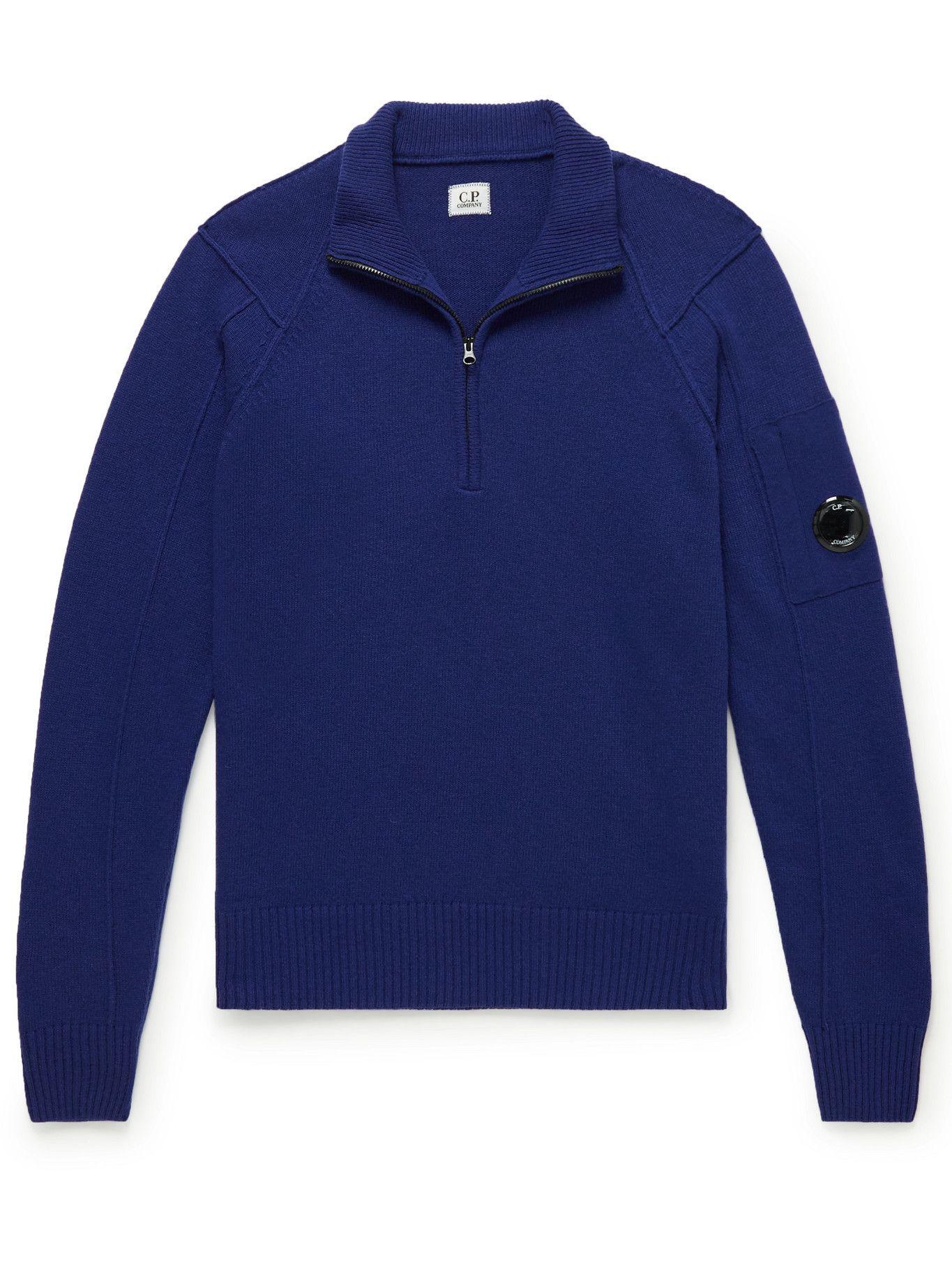 Photo: C.P. Company - Wool-Blend Half-Zip Sweater - Blue