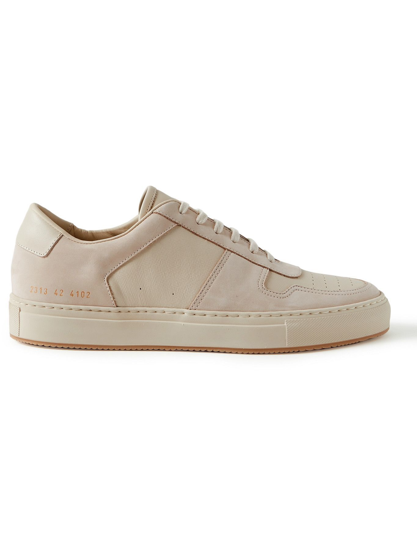 Photo: Common Projects - BBall Saffiano Leather and Nubuck Sneakers - Neutrals