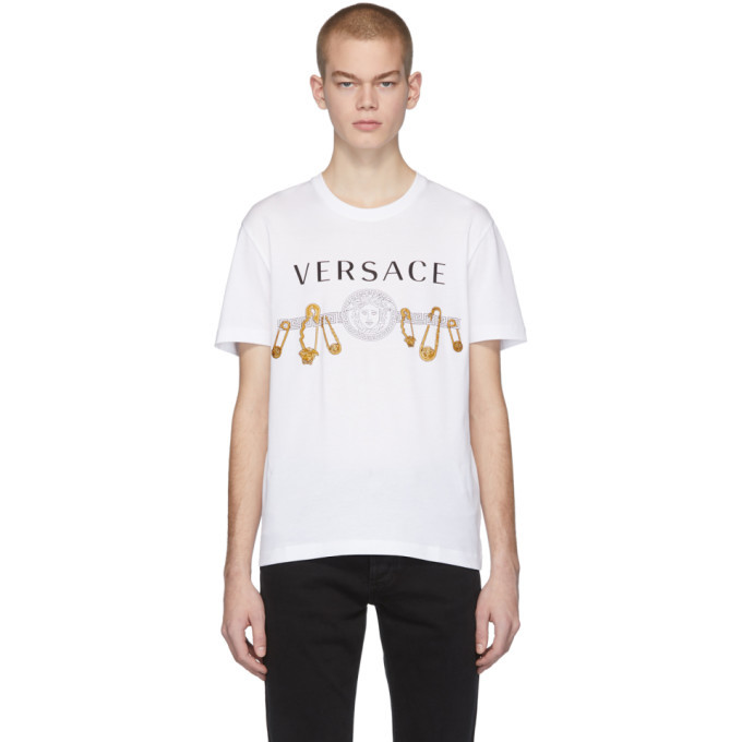Photo: Versace White Safety Pin T-Shirt
