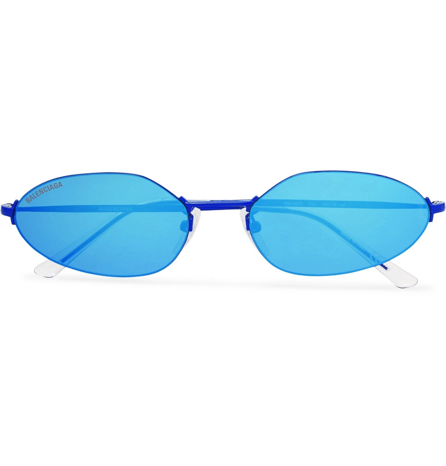 Photo: Balenciaga - Oval-Frame Metal Mirrored Sunglasses - Blue