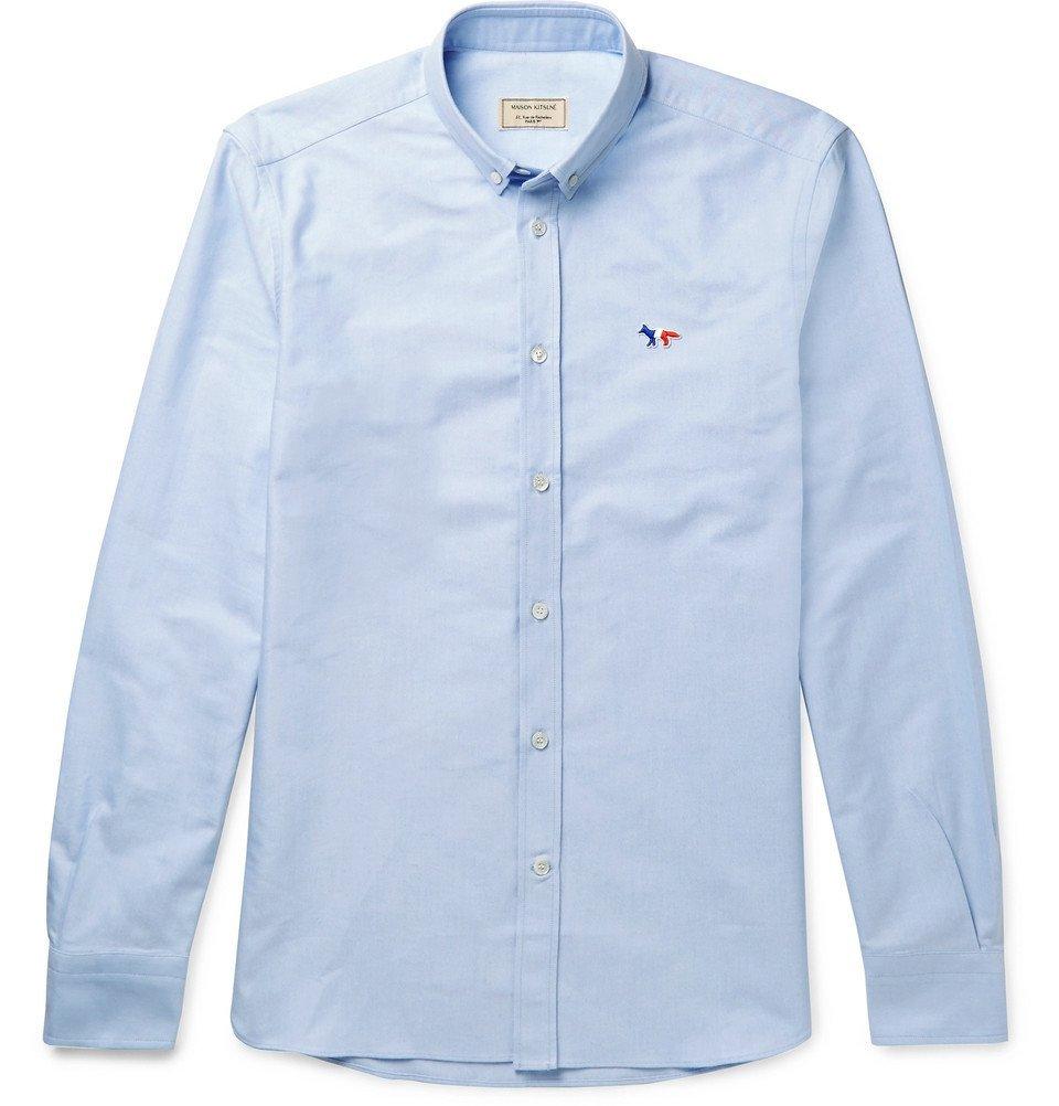 Photo: Maison Kitsuné - Slim-Fit Button-Down Collar Cotton Oxford Shirt - Blue