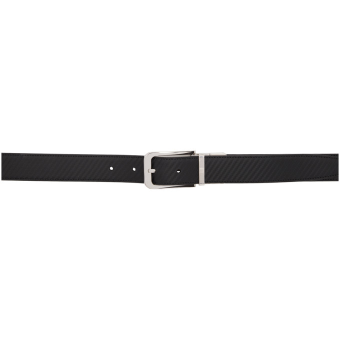 Photo: Dunhill Reversible Black Striped Leather Belt