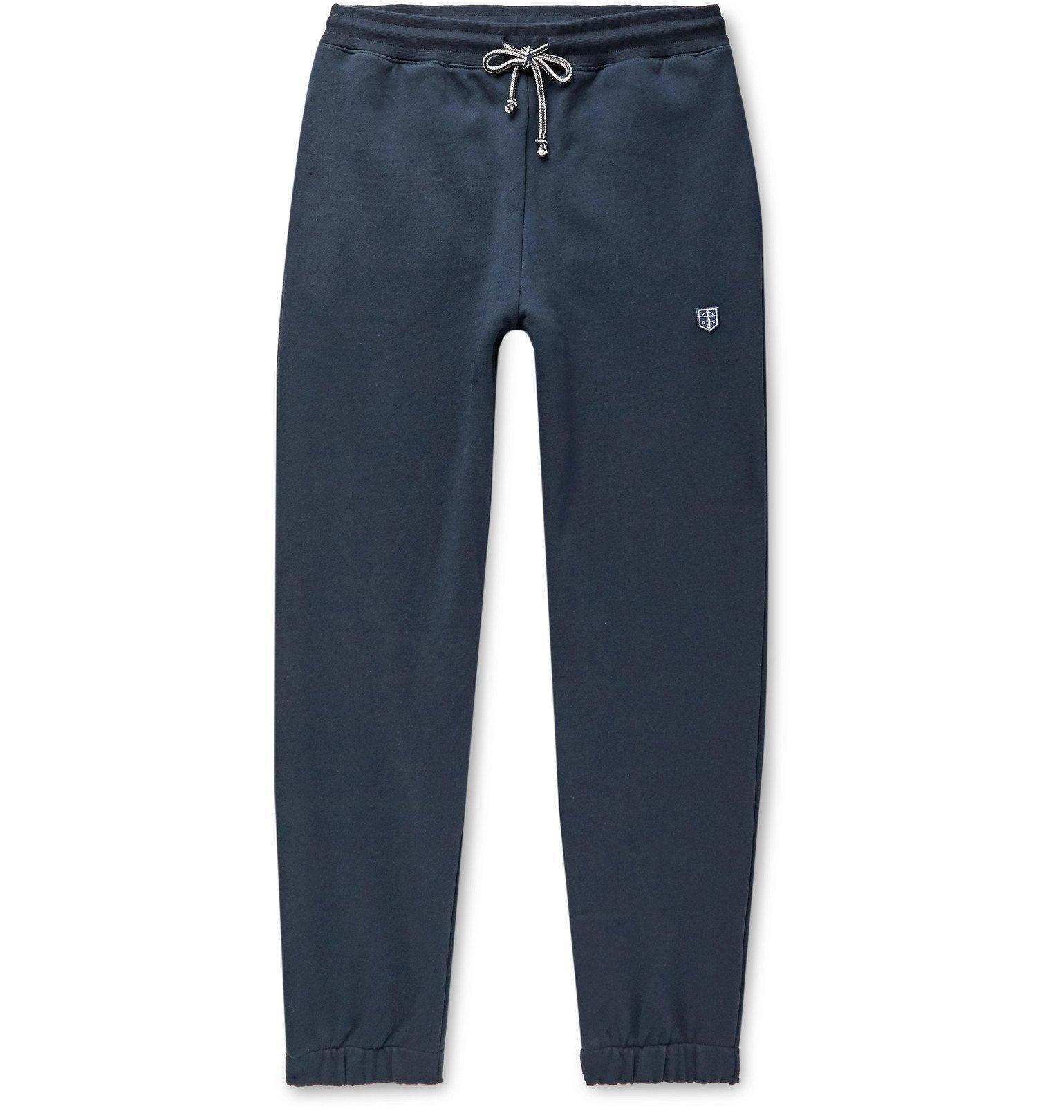 Photo: Schiesser - Vincent Tapered Fleece-Back Cotton-Jersey Sweatpants - Blue