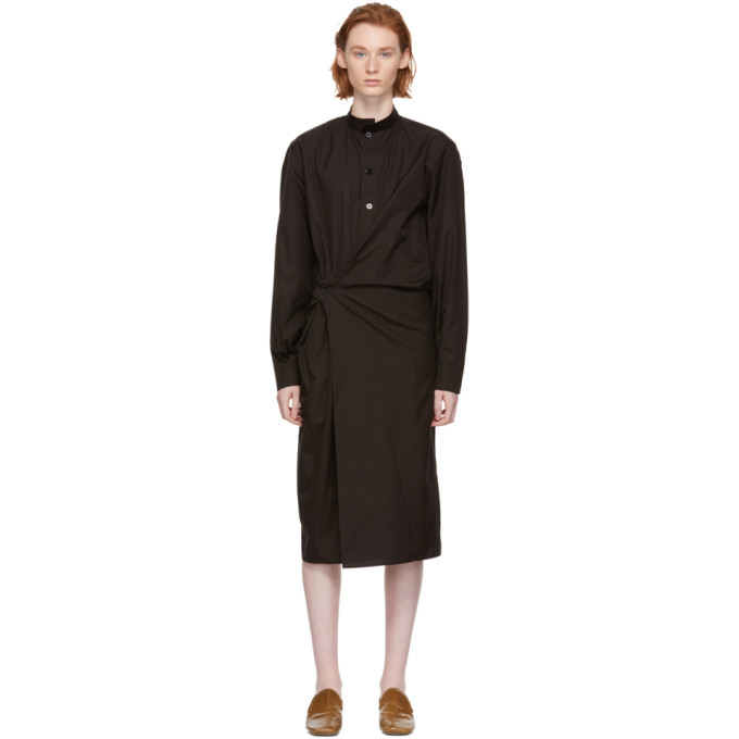 Lemaire Brown High Collar Twisted Dress