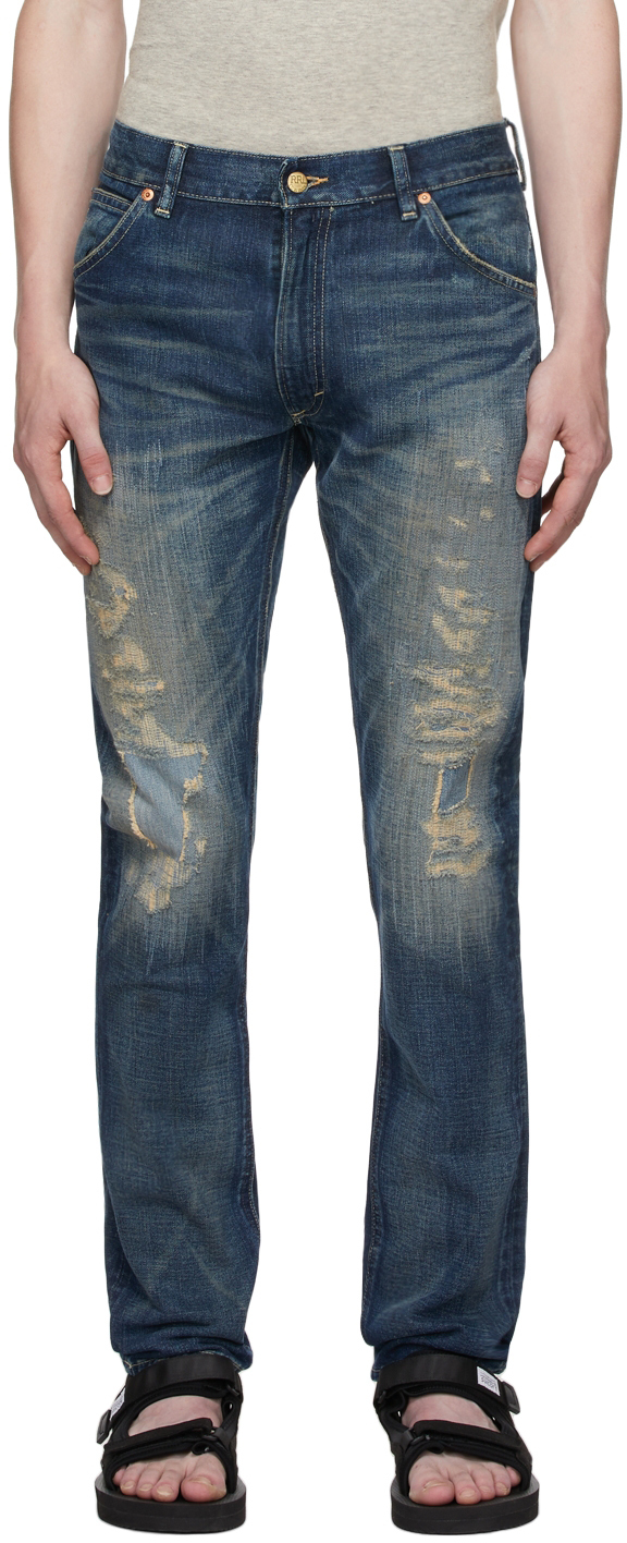 Photo: RRL Blue High Slim Fit Hand-Repaired Jeans