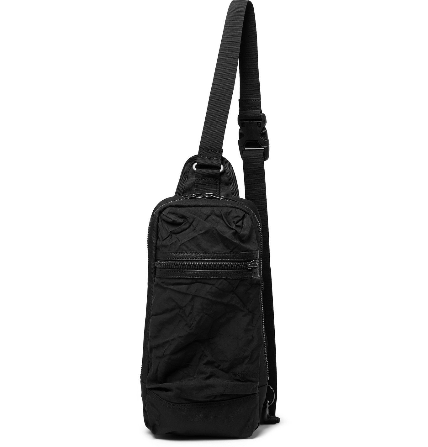 Photo: Master-Piece - Rebirth Project Leather-Trimmed Crinkled-Shell and Canvas Sling Backpack - Black
