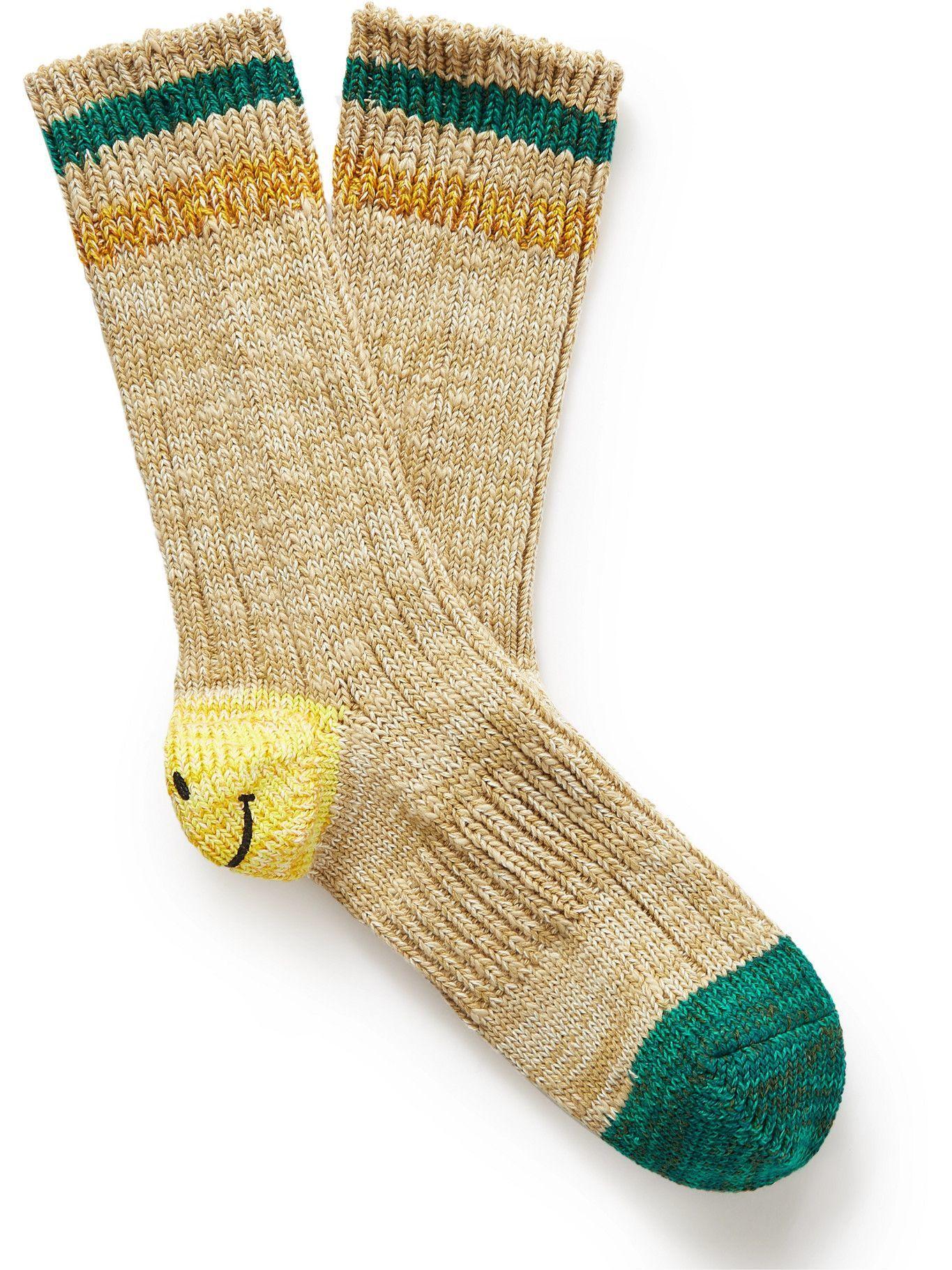 Photo: KAPITAL - Ivy Smilie Striped Cotton and Hemp-Blend Socks