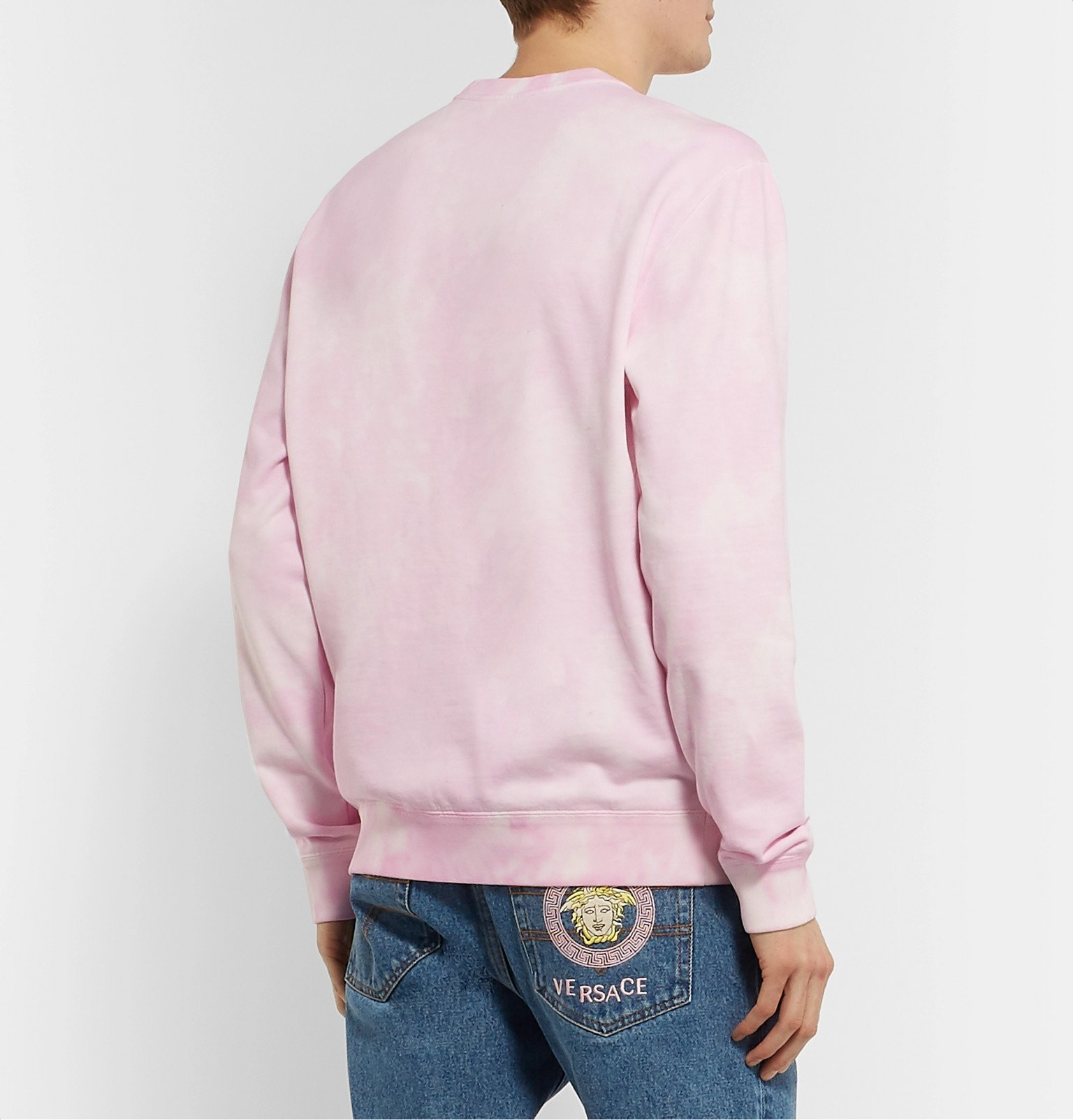 Versace - Logo-Embroidered Tie-Dyed Loopback Cotton-Jersey Sweatshirt - Pink