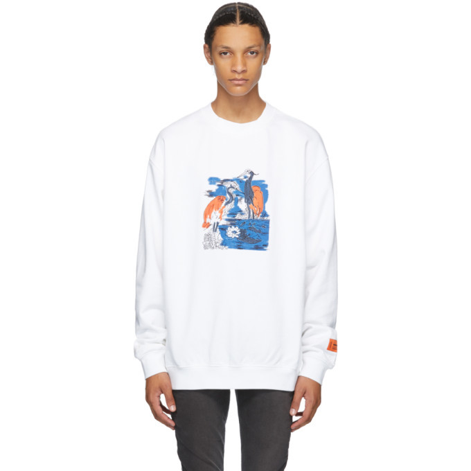 Photo: Heron Preston White Embroidered Herons Crewneck
