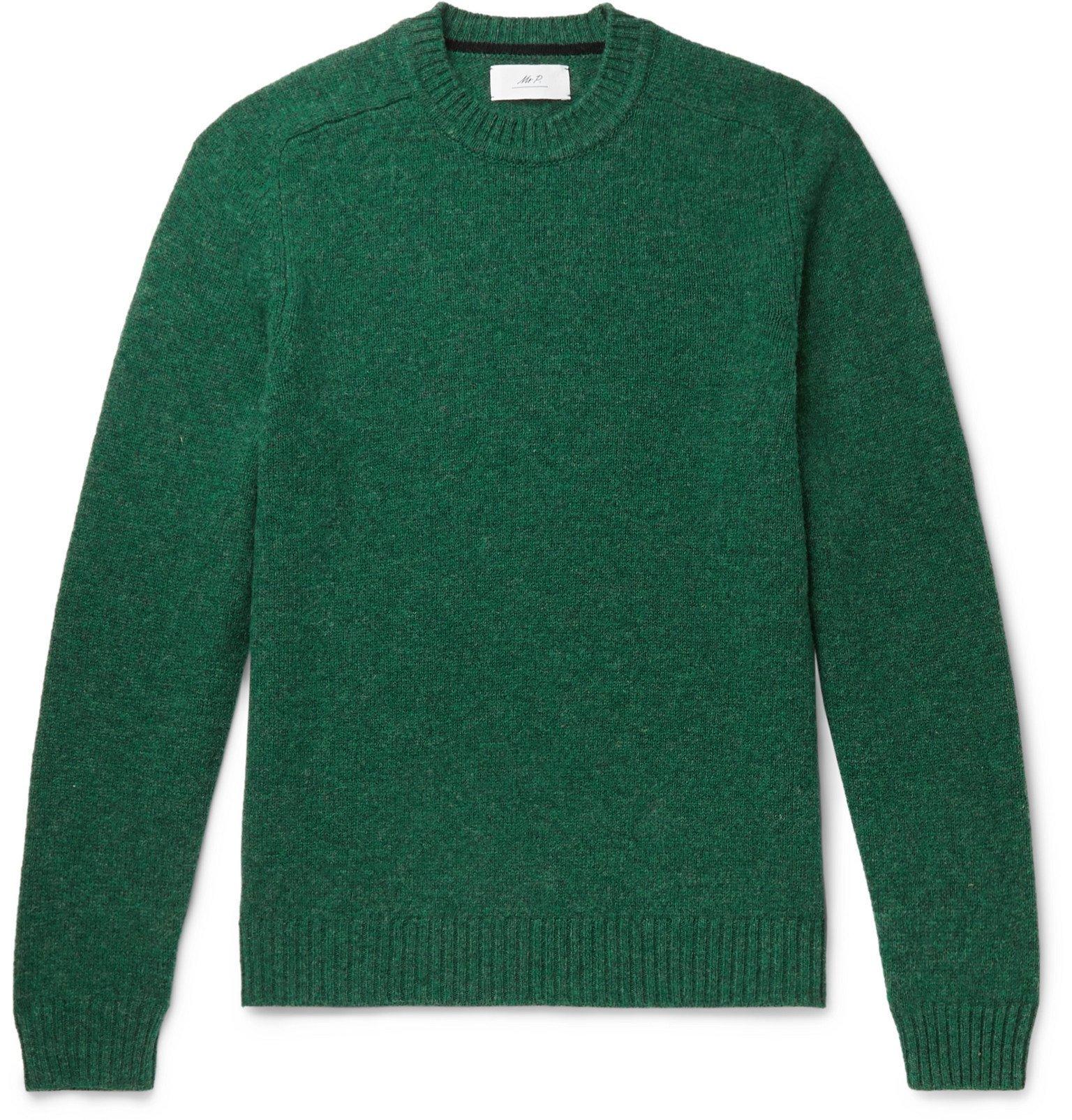 Photo: Mr P. - Mélange Shetland Wool Sweater - Green