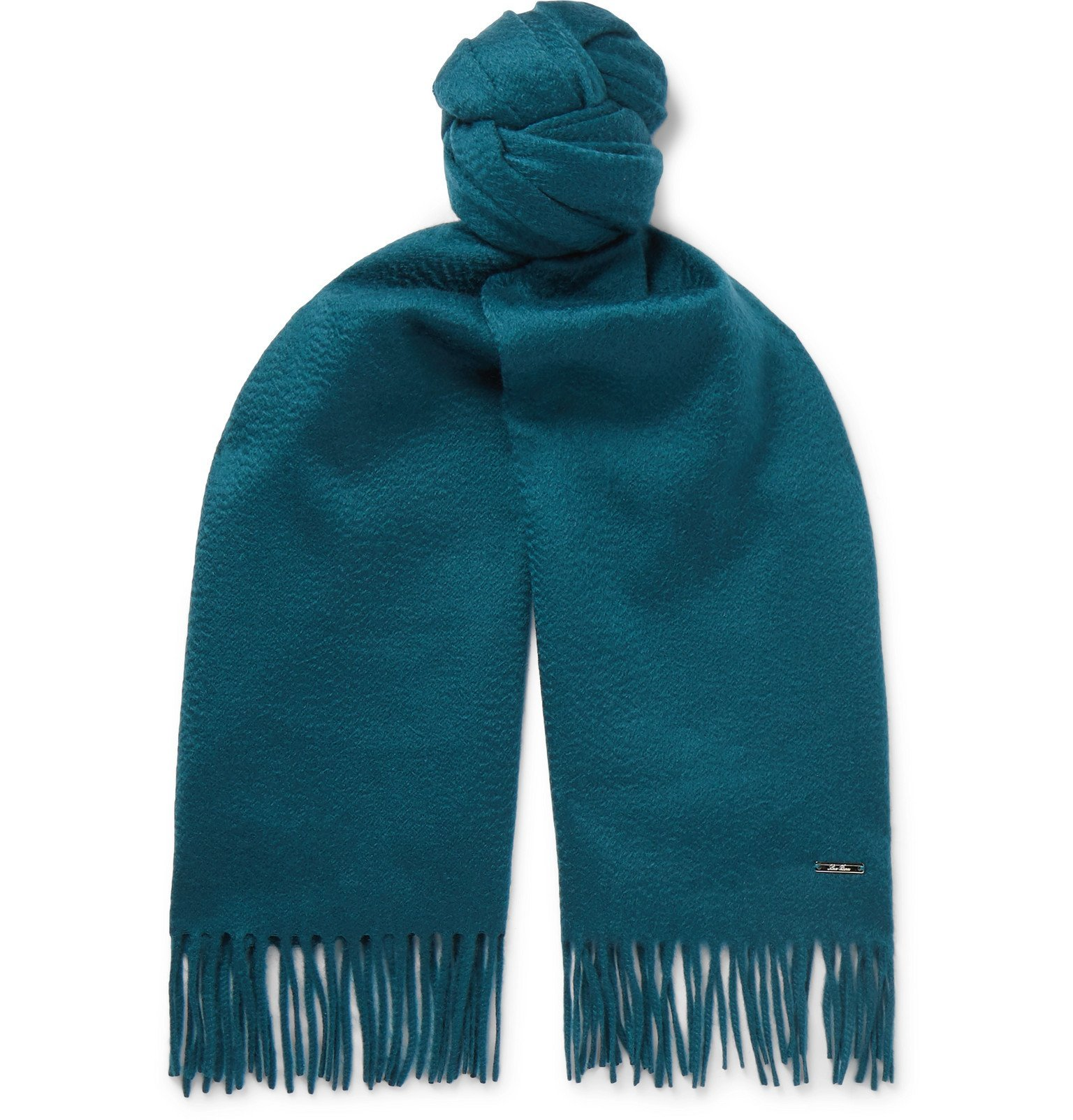 Photo: Loro Piana - Fringed Cashmere Scarf - Blue