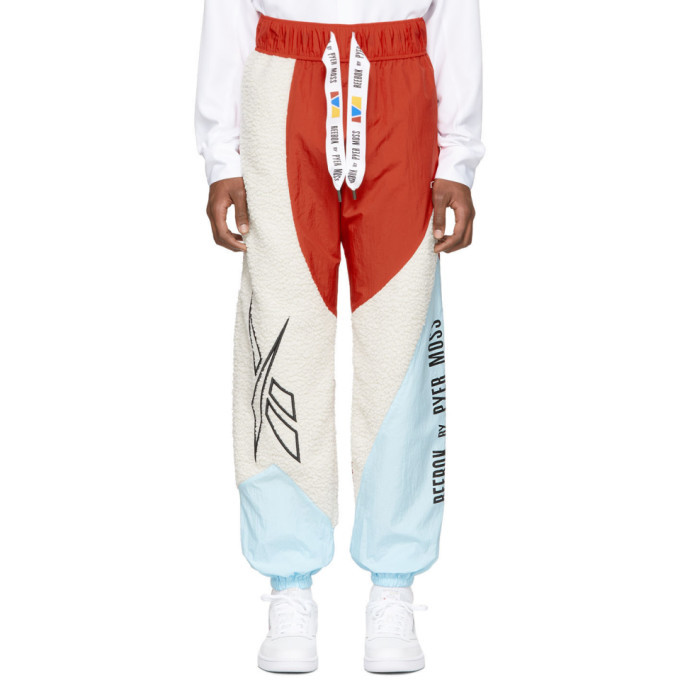 Photo: Reebok by Pyer Moss White and Red Collection 3 Sherpa Track Pants