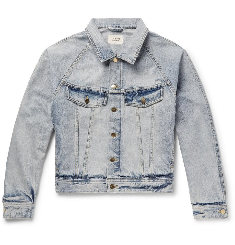 Photo: Fear of God - Distressed Denim Trucker Jacket - Light denim