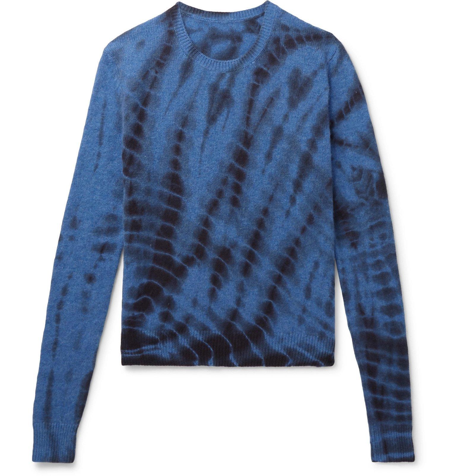 The Elder Statesman - Tie-Dyed Cashmere Sweater - Blue