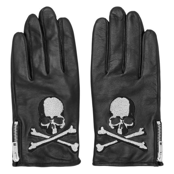 Photo: mastermind WORLD Black Leather Skull Gloves