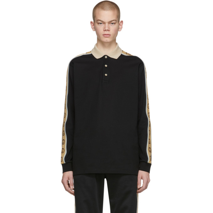 Photo: Gucci Black Cotton Pique Long Sleeve Polo